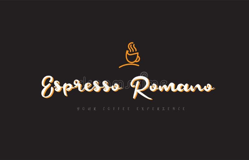 espressoromano het embleem van de woordtekst met het symboolidee van de koffiekop typog vector illustratie