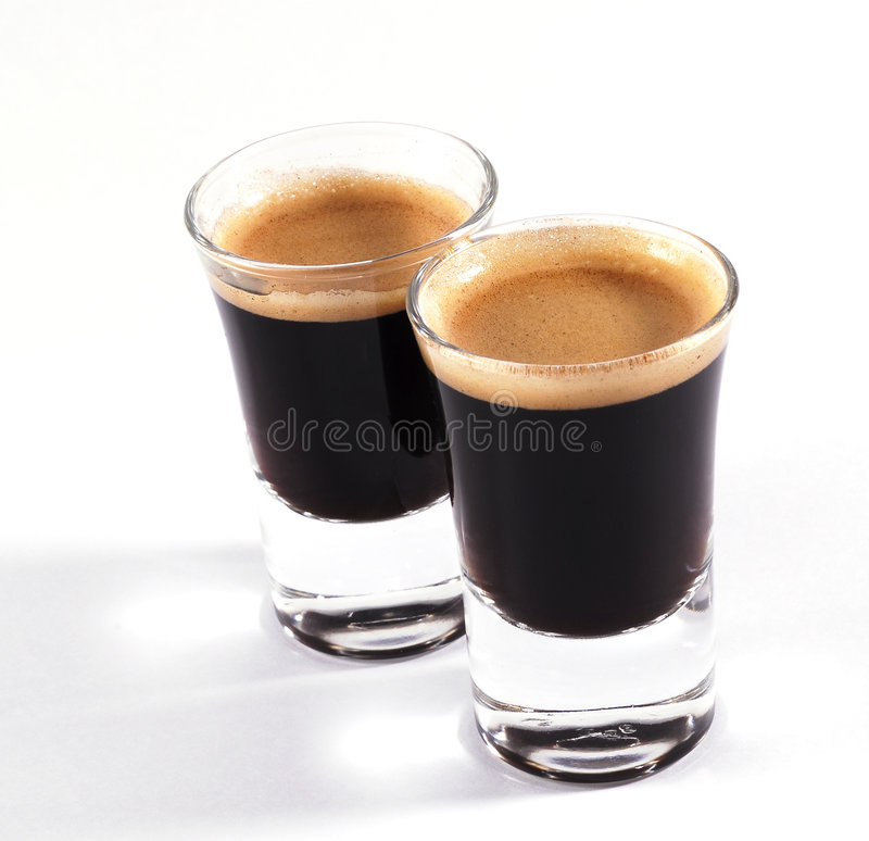 Espressoschüsse stockbilder