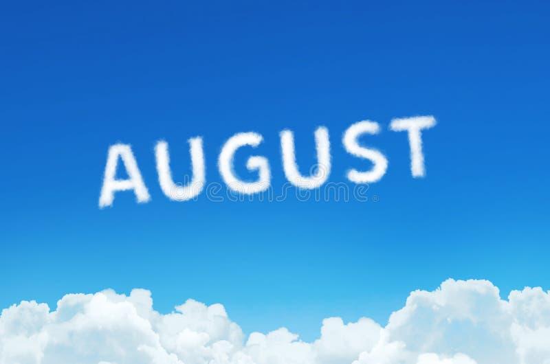 Esprima augusto fatto del vapore delle nuvole sul fondo del cielo blu Pianificazione di mese, concetto dell'orario royalty illustrazione gratis