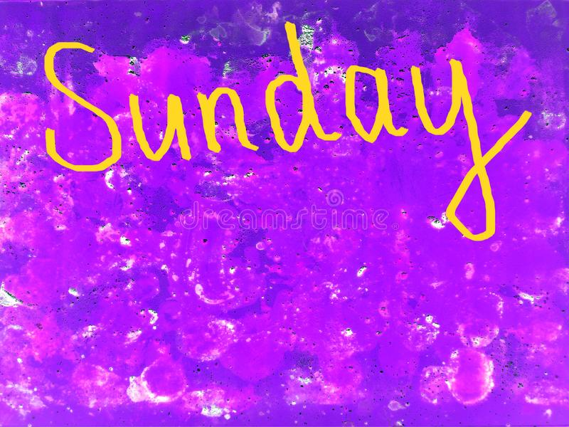 Esprima domenica scritta a mano con una spazzola nel giallo su fondo porpora strutturato illustrazione vettoriale