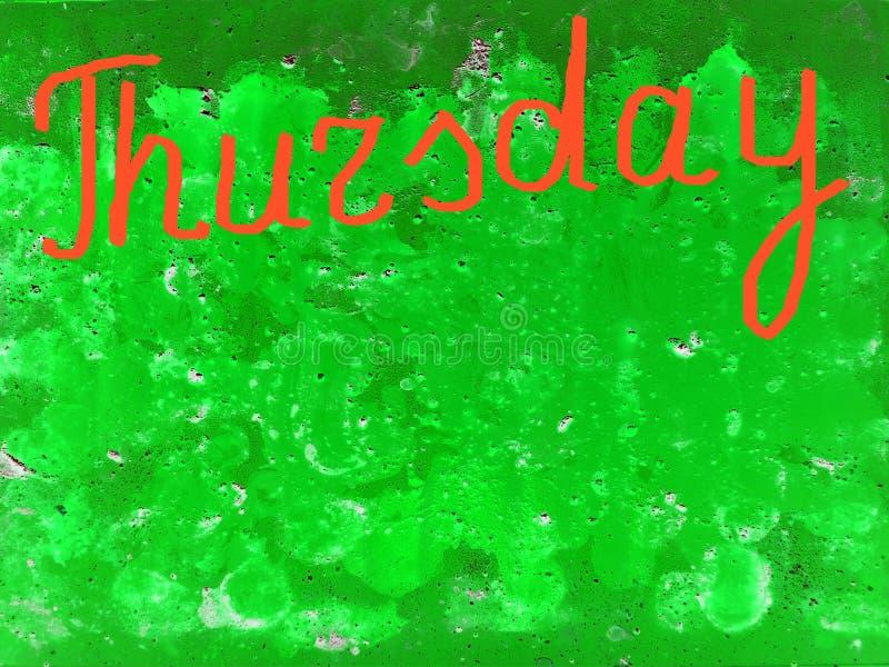 Esprima giovedì scritto a mano con la spazzola in arancia su un fondo verde strutturato, copi lo spazio illustrazione di stock