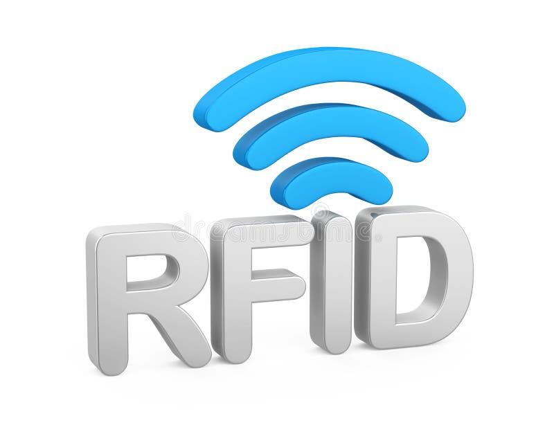 Esprima il ` del ` RFID con la rete del segnale isolata illustrazione vettoriale