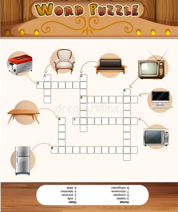 Esprima il gioco di puzzle con gli oggetti nella casa royalty illustrazione gratis