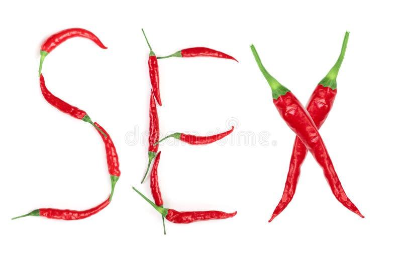 Esprima il sesso scritto dalle lettere roventi del pepe isolate su fondo bianco fotografie stock