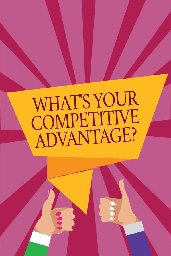 Esprima il testo di scrittura che s è la vostra domanda di vantaggio competitivo Il concetto di affari per la donna dell'uomo di  illustrazione vettoriale