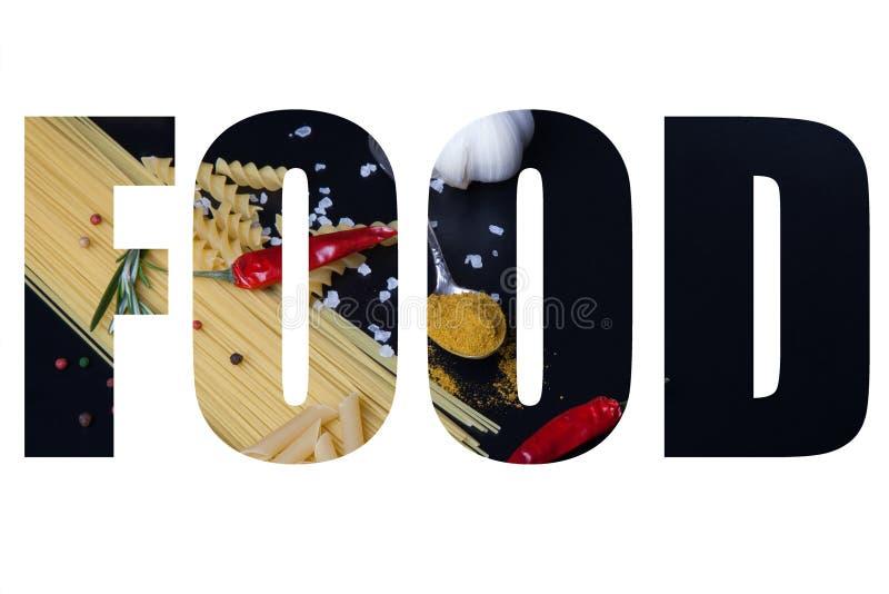 Esprima l'ALIMENTO sopra i generi differenti di pasta, il peperoncino rosso, rosem fotografia stock