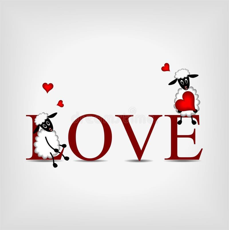 Esprima l'AMORE con due pecore sveglie e cuore rosso illustrazione di stock