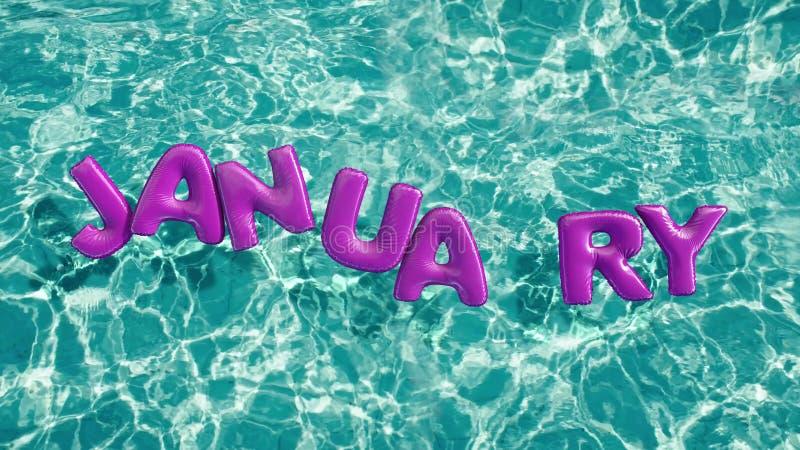 Esprima l'anello gonfiabile di nuotata a forma di ` di GENNAIO del ` che galleggia in una piscina blu di rinfresco illustrazione di stock