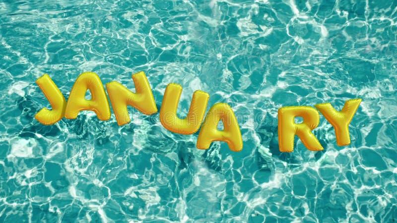 Esprima l'anello gonfiabile di nuotata a forma di ` di GENNAIO del ` che galleggia in una piscina blu di rinfresco royalty illustrazione gratis