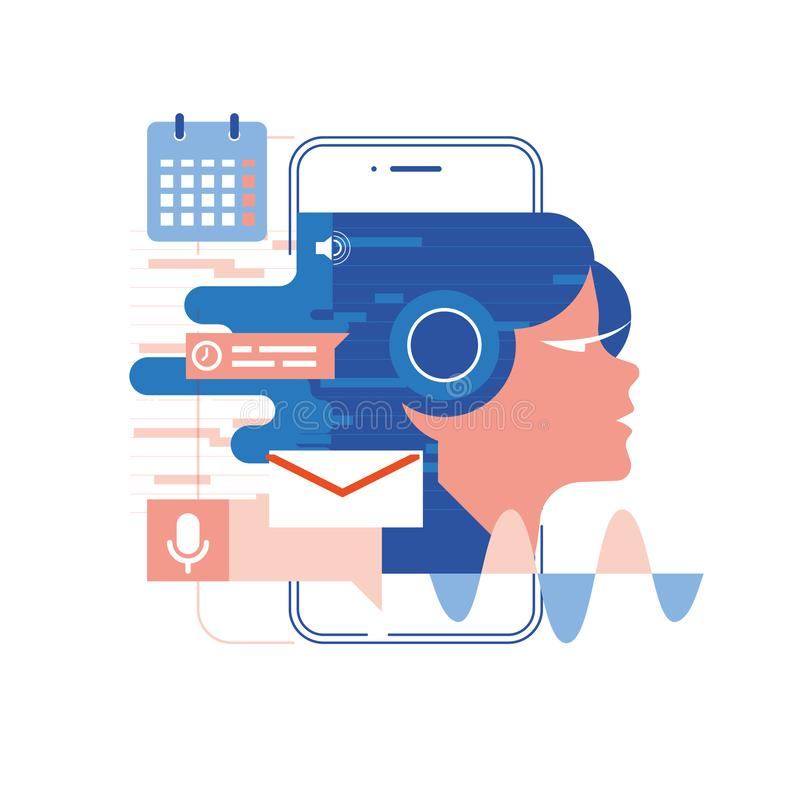 Esprima l'assistente, il cellulare app, illustrazione di vettore di concetto di riconoscimento della voce e dell'assistente perso illustrazione vettoriale