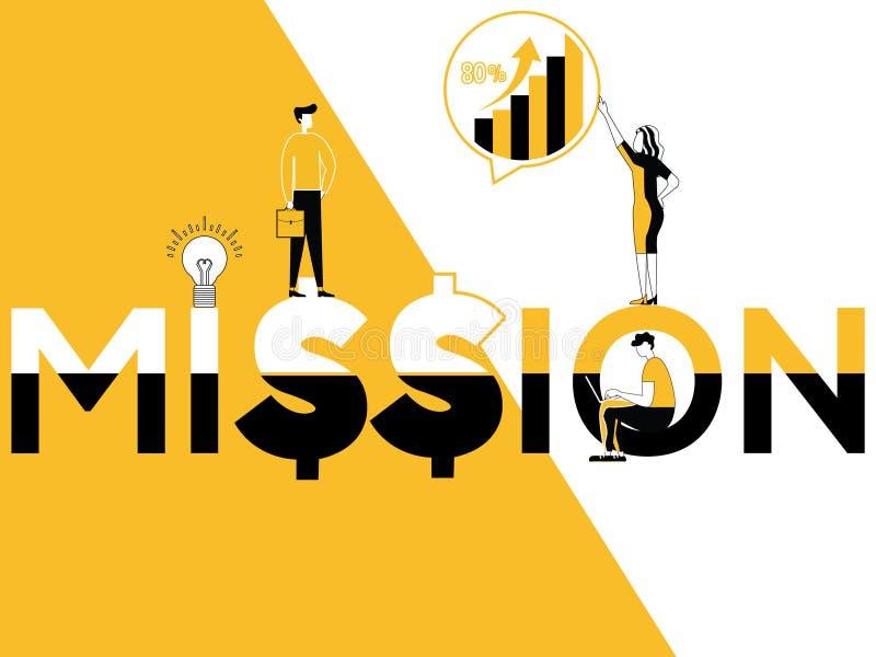 Esprima la missione e la gente di concetto che fanno le attività promozionali illustrazione vettoriale