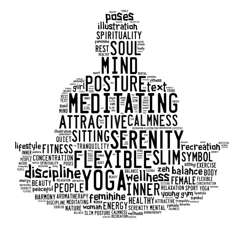 Esprima la nuvola composta sotto forma di un uomo che fa la meditazione di yoga illustrazione di stock