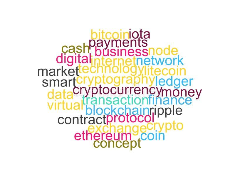 Esprima la nuvola di bitcoin, il cryptocurrency, soldi virtuali isolati illustrazione di stock