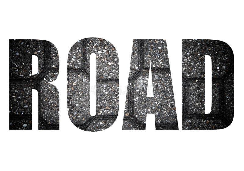Esprima la STRADA sopra le mattonelle del marciapiede fatte delle pietre naturali Fondo fotografia stock libera da diritti