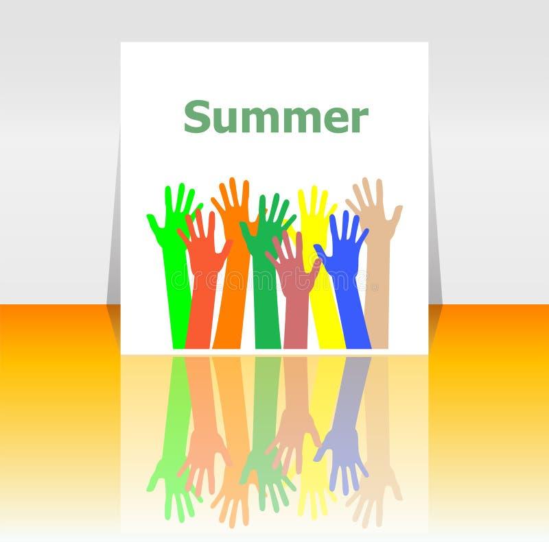 Esprima le mani della gente e dell'estate, concetto di festa royalty illustrazione gratis