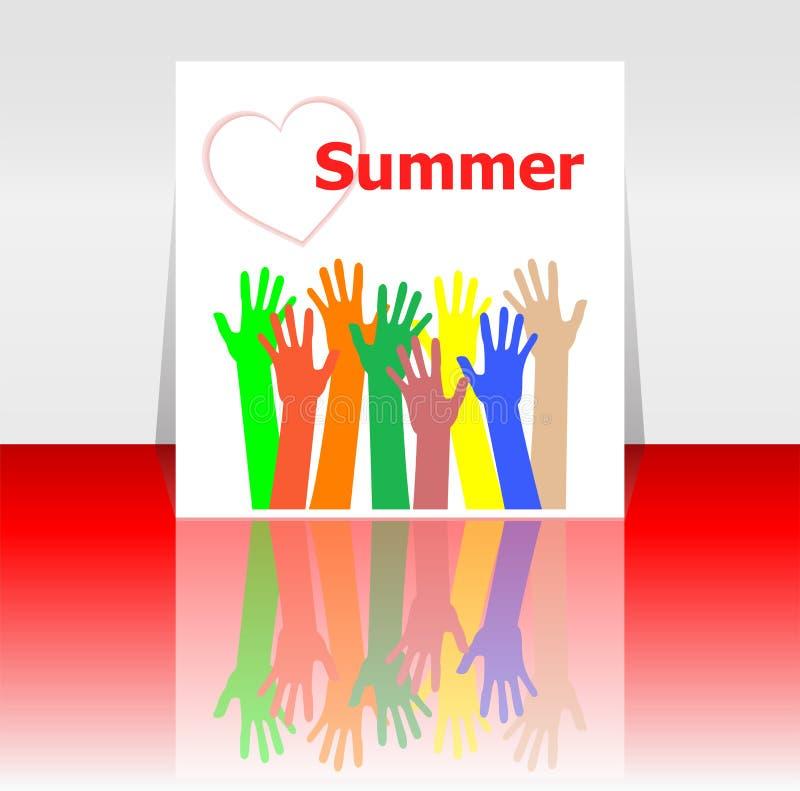 Esprima le mani della gente e dell'estate, i cuori di amore, concetto di festa illustrazione vettoriale