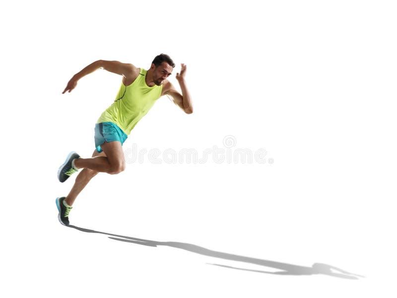 Esprinter de sexo masculino que corre en fondo aislado fotografía de archivo libre de regalías