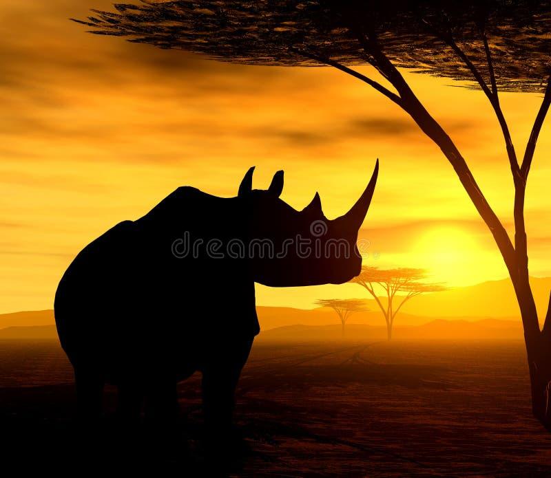 Esprit africain - le rhinocéros illustration de vecteur
