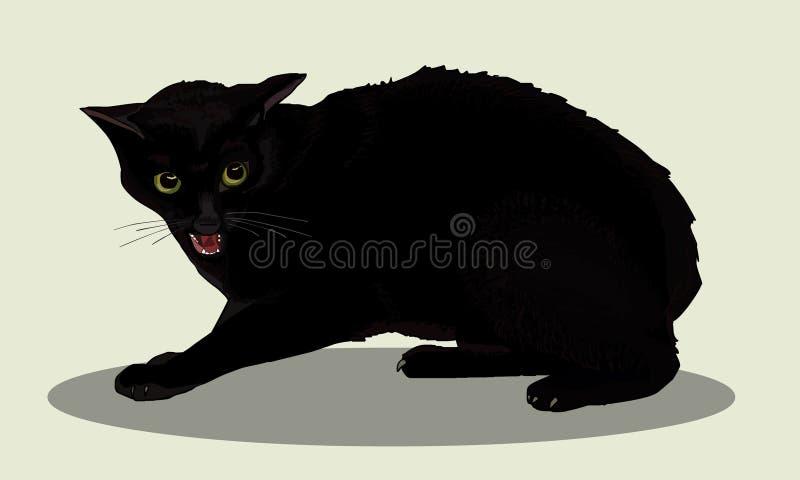 Esprit agressif de chat noir le chat est fâché Sifflements de chat Animaux familiers préférés Illustration réaliste de vecteur illustration libre de droits