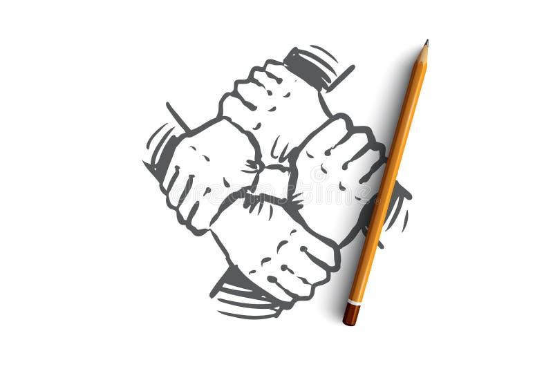 Esprit d'équipe, ensemble, connexion, concept d'association Vecteur d'isolement tiré par la main illustration stock