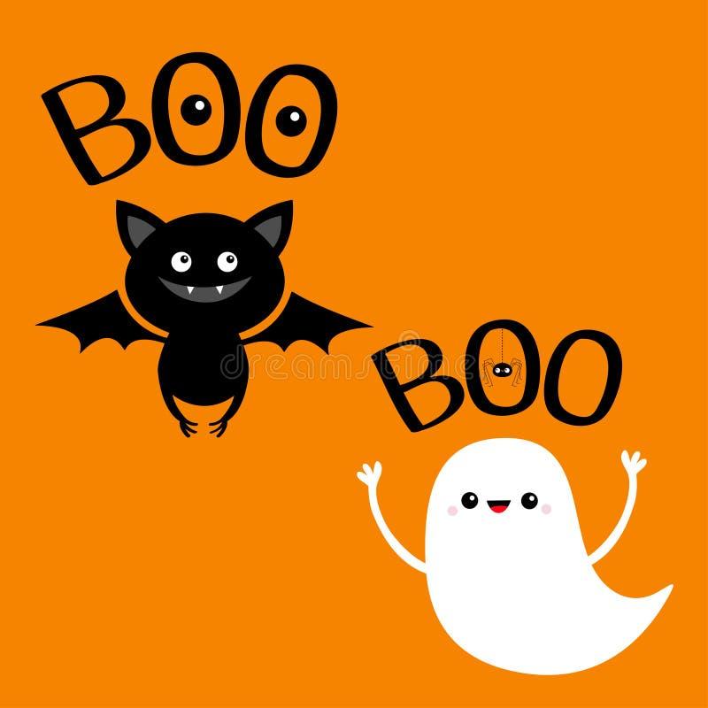 Esprit de fantôme volant Bonnet Texte de boo avec araignée pendante, yeux Joyeux Halloween Mignonne caricature blanche effrayante illustration libre de droits
