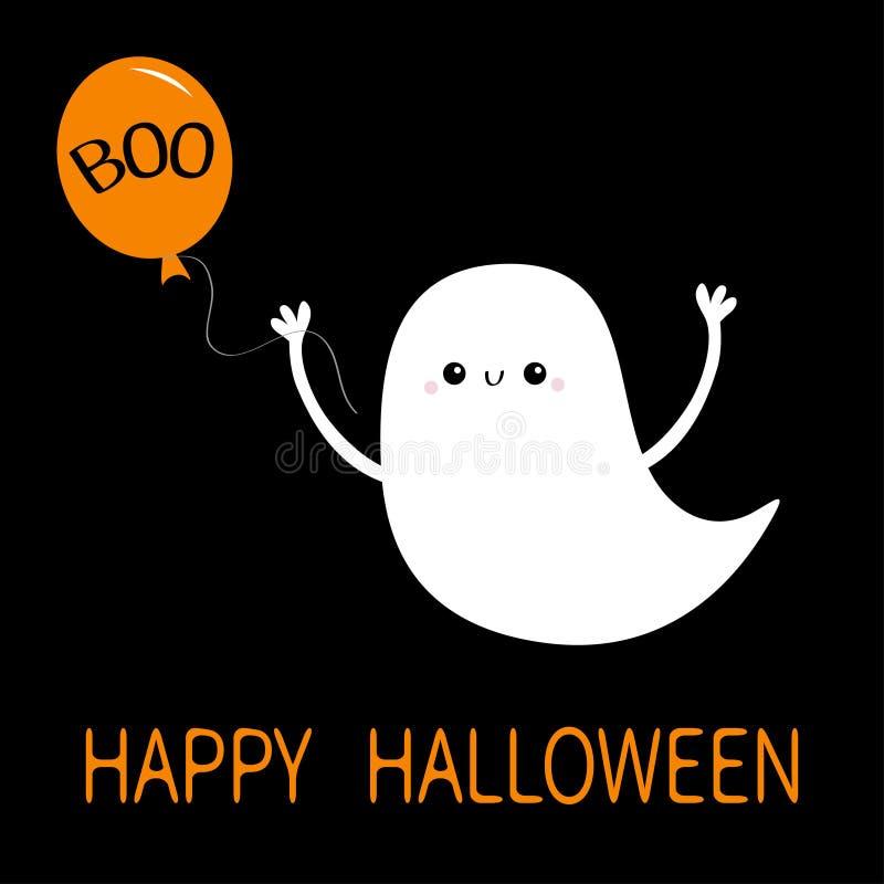 Esprit de fantôme volant tenant un ballon avec un texte de Boo Joyeux Halloween Mignonne caricature blanche effrayante personnage illustration libre de droits