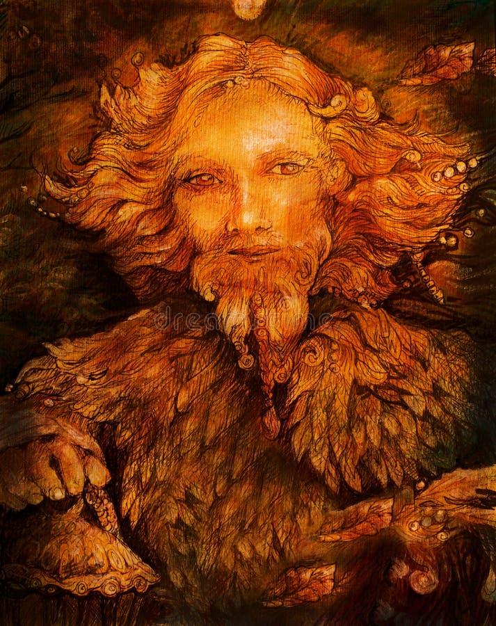 Esprit de gardien ensoleillé de forêt de féerie avec la lanterne, illustration images stock
