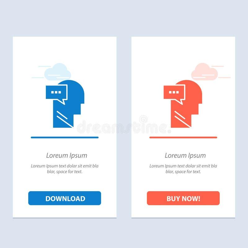 Esprit, dialogue, bleu intérieur et principal et téléchargement rouge et acheter maintenant le calibre de carte de gadget de Web illustration de vecteur