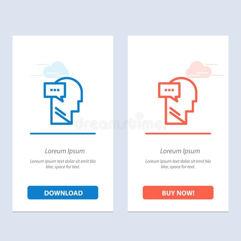 Esprit, dialogue, bleu intérieur et principal et téléchargement rouge et acheter maintenant le calibre de carte de gadget de Web illustration stock