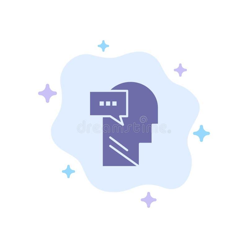Esprit, dialogue, icône bleue intérieure et principale sur le fond abstrait de nuage illustration de vecteur