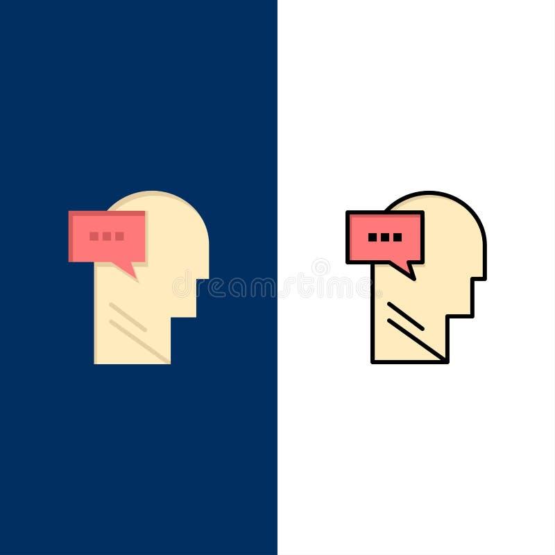 Esprit, dialogue, icônes intérieures et principales L'appartement et la ligne icône remplie ont placé le fond bleu de vecteur illustration libre de droits