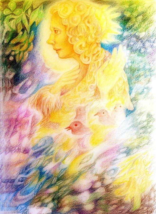 Esprit féerique léger d'or d'imagination avec des oiseaux et des feuilles de flottement illustration stock