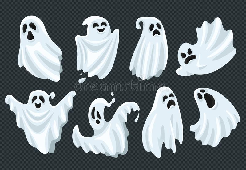 Esprit fantôme de Halloween de mouche fantasmagorique de fantôme avec le visage effrayant Apparition fantomatique dans l'ensemble illustration stock