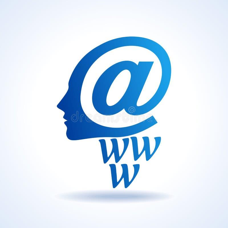 Esprit humain avec l'icône créative d'email illustration libre de droits