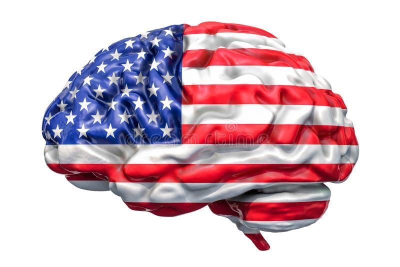 Esprit humain avec le drapeau américain Recherche scientifique et educatio illustration libre de droits