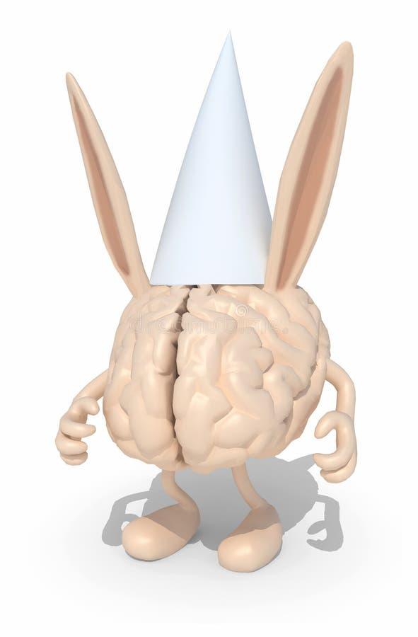 Esprit humain avec les oreilles et le chapeau de cancre illustration stock