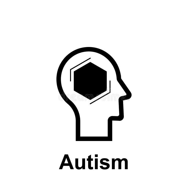 Esprit humain, icône d'autisme ?l?ment d'ic?ne d'esprit humain pour les apps mobiles de concept et de Web La ligne mince esprit h illustration stock