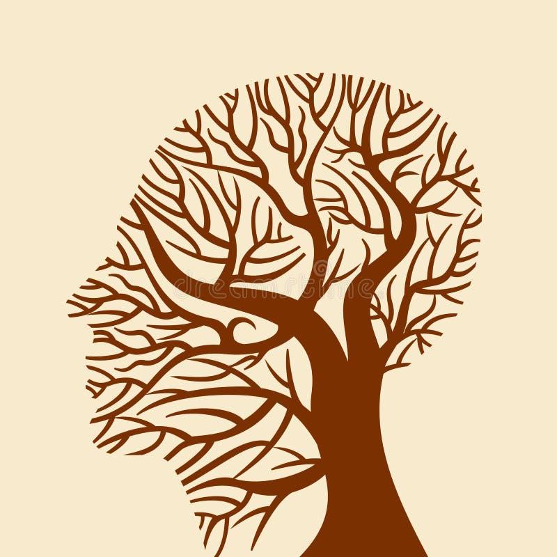Esprit humain, pensées vertes, illustration de vecteur