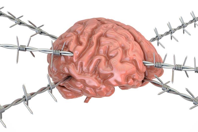 Esprit humain percé avec le barbelé, rendu 3D illustration de vecteur