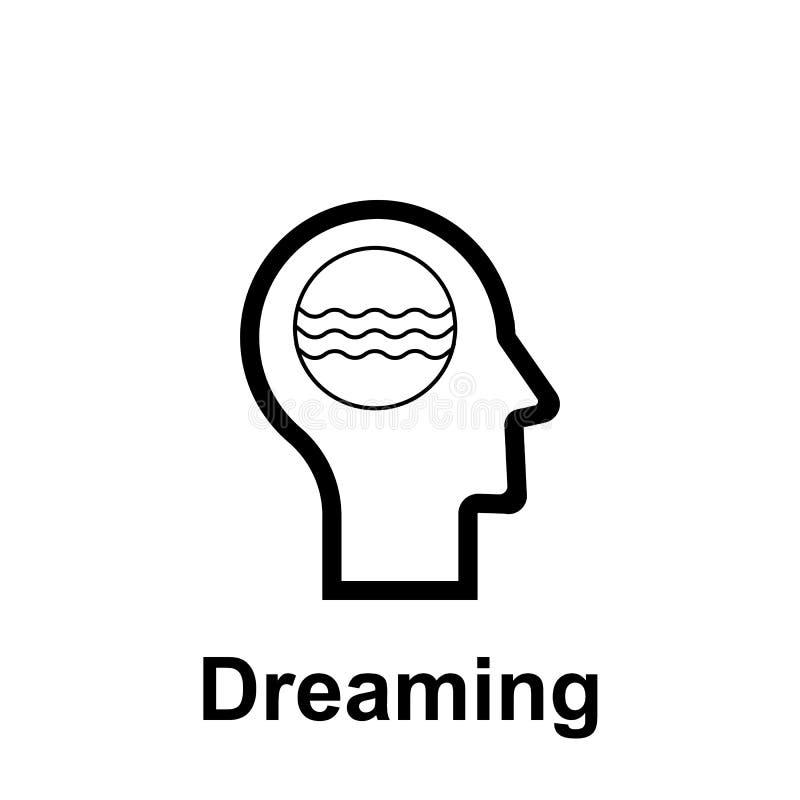Esprit humain, rêvant l'icône Élément d'icône d'esprit humain pour les apps mobiles de concept et de Web La ligne mince esprit hu illustration libre de droits