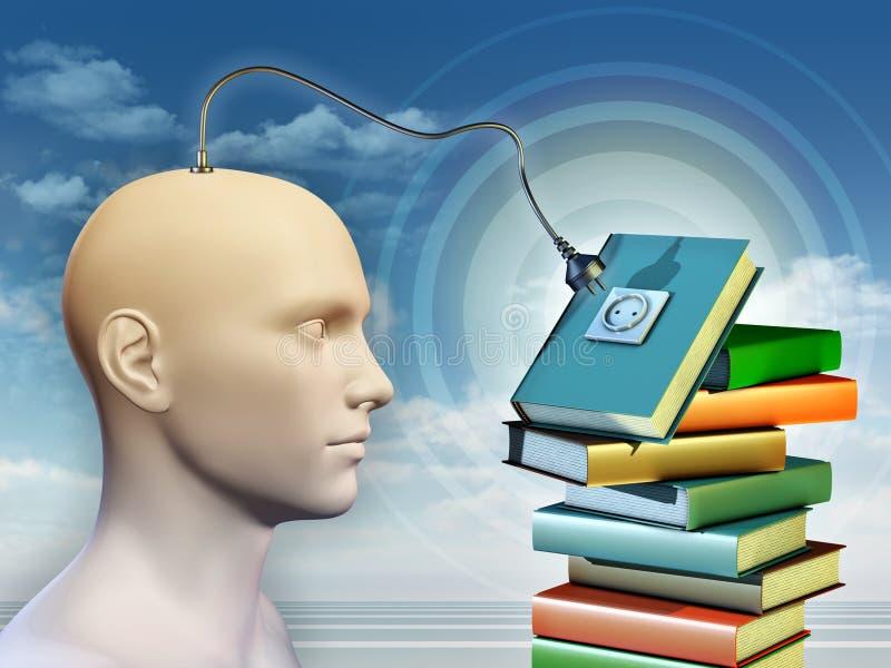 Esprit humain se reliant à quelques livres illustration libre de droits