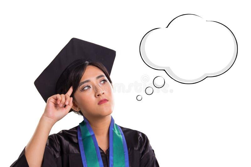 Esprit intelligent d'étudiante, avec le nuage du dessin de bande dessinée de pensée, d'isolement sur le fond blanc image libre de droits