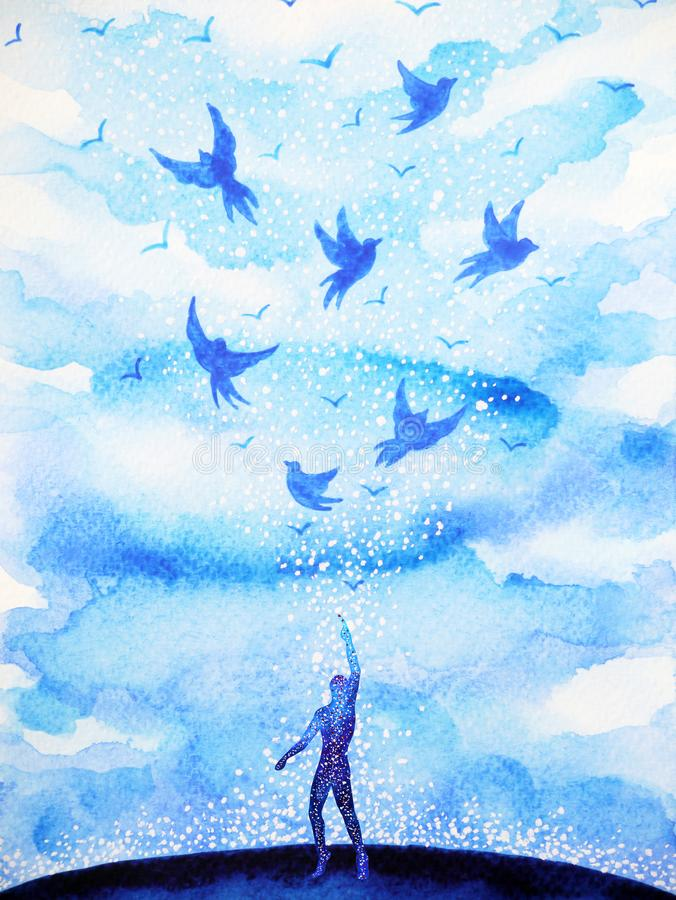 Les Oiseaux De Vol Libèrent, Détendent L'esprit Avec Le Ciel Ouvert,  Peinture Abstraite D'aquarelle Illustration Stock - Illustration du  abstraite, oiseaux: 101075717