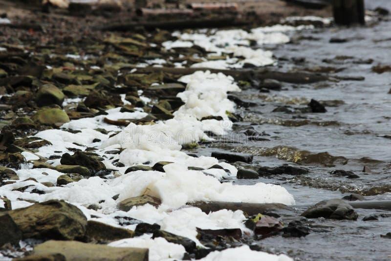 a espuma branca grossa do rio foi congelada no ar gelado no outono foto de stock royalty free