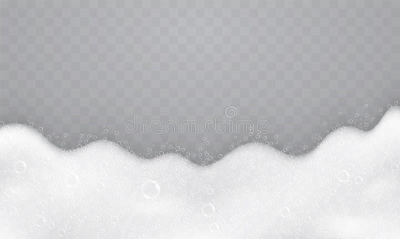 Espuma com bolhas de sabão, vista superior Fluxo do sabão e dos champôs ilustração royalty free
