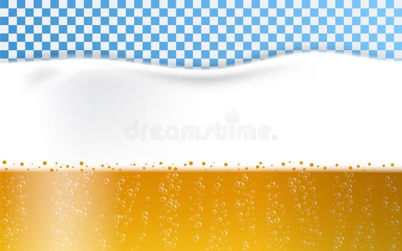 A espuma da cerveja borbulha fundo do conceito, estilo realístico ilustração stock