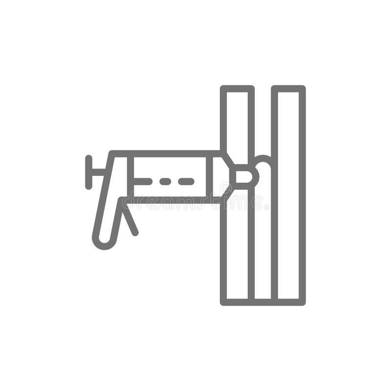 Espuma de la construcción, sellante del silicón, instalando la línea icono de la espuma de poliuretano stock de ilustración