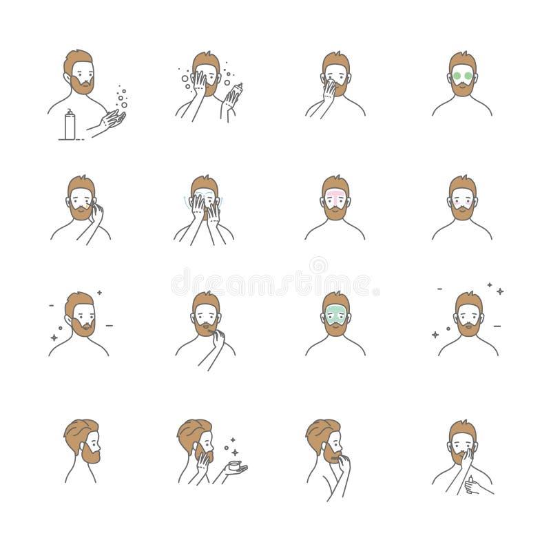 Espuma de limpeza facial envelhecida meio do uso do homem, cuidados com a pele dos homens s, ilustração dos desenhos animados, is ilustração do vetor