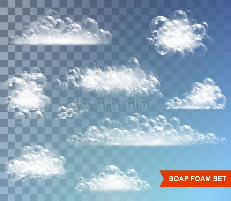Espuma del jabón con vector aislado burbujas en fondo transparente ilustración del vector