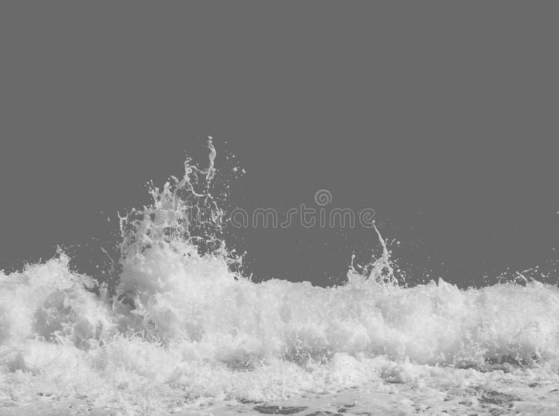 Espuma do mar branco da ressaca, isolada em um fundo cinzento imagem de stock